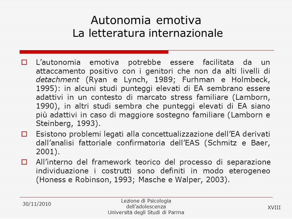 Autonomia emotiva La letteratura internazionale