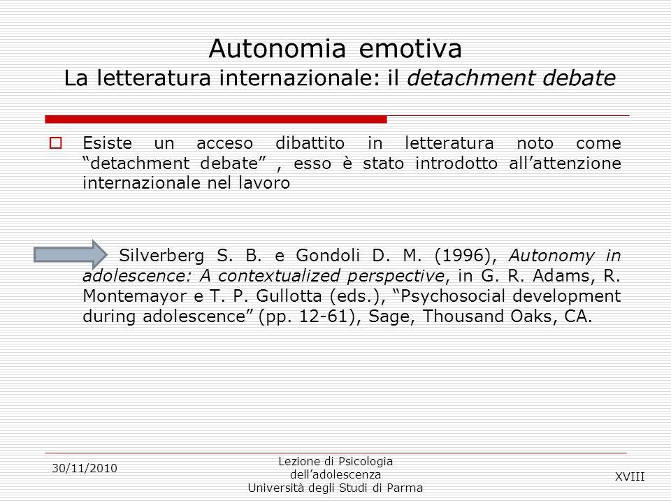 Autonomia emotiva La letteratura internazionale: il detachment debate