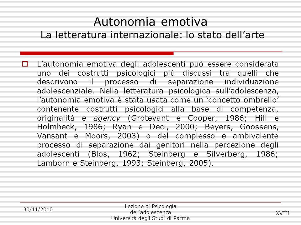Autonomia emotiva La letteratura internazionale: lo stato dell'arte