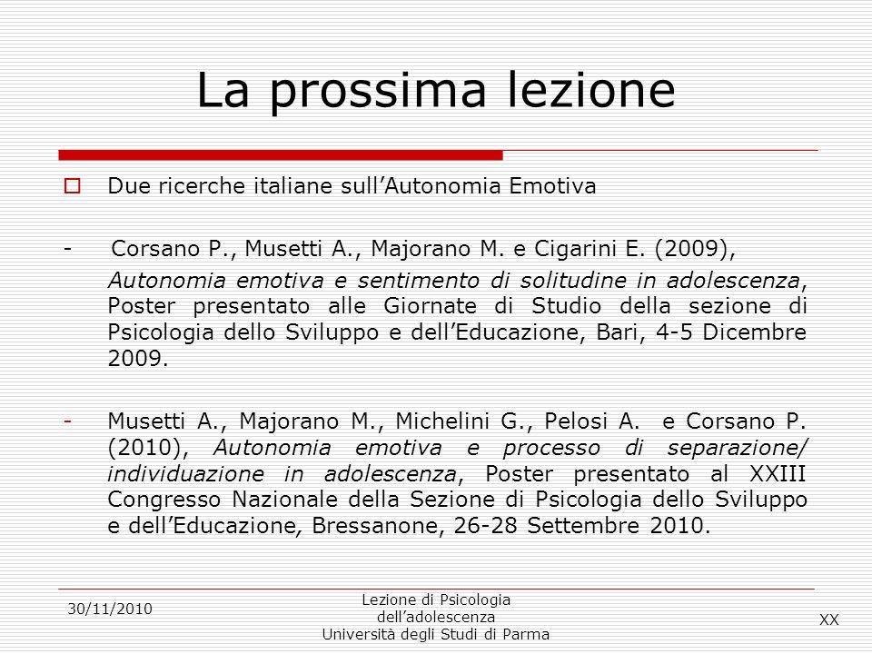 La prossima lezione Due ricerche italiane sull'Autonomia Emotiva