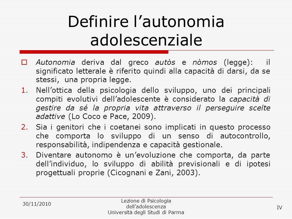 Definire l'autonomia adolescenziale