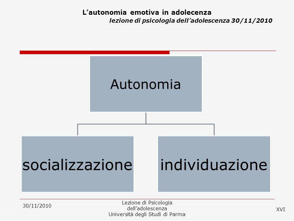 L'autonomia emotiva in adolecenza lezione di psicologia dell'adolescenza 30/11/2010