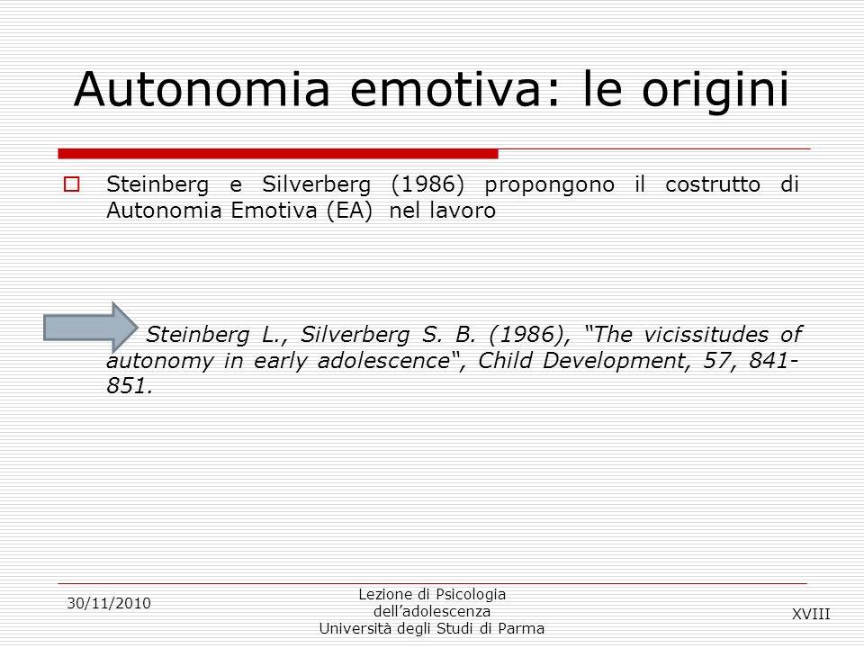 Autonomia emotiva: le origini