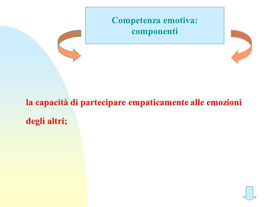 Competenza emotiva: componenti la capacità di partecipare empaticamente alle emozioni degli altri;