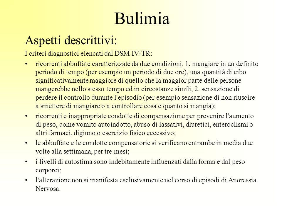 Bulimia Aspetti descrittivi: