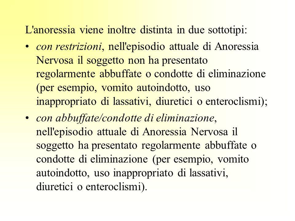 L anoressia viene inoltre distinta in due sottotipi: