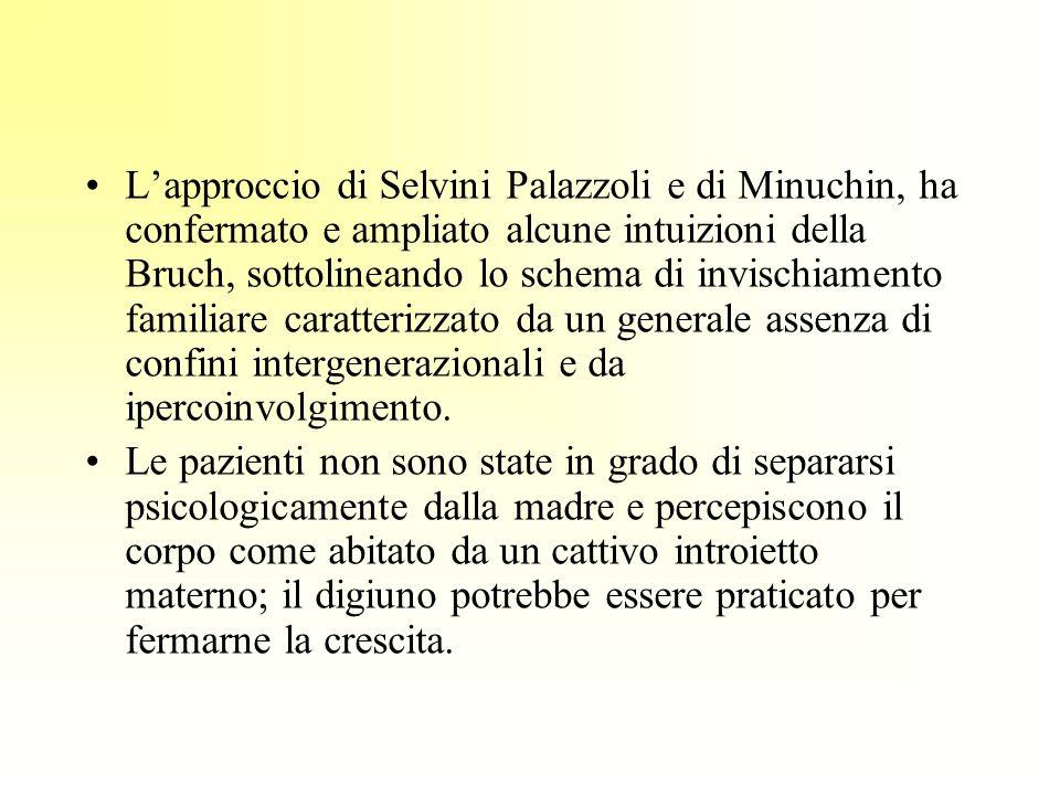 L'approccio di Selvini Palazzoli e di Minuchin, ha confermato e ampliato alcune intuizioni della Bruch, sottolineando lo schema di invischiamento familiare caratterizzato da un generale assenza di confini intergenerazionali e da ipercoinvolgimento.