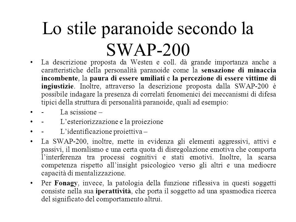Lo stile paranoide secondo la SWAP-200