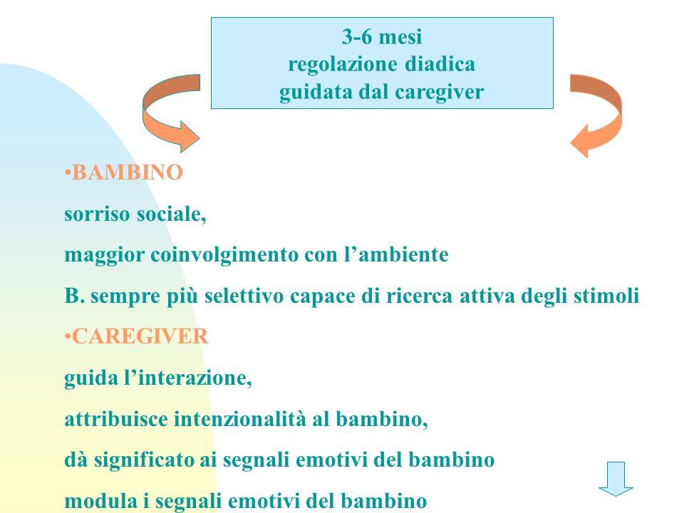 3-6 mesi regolazione diadica. guidata dal caregiver. BAMBINO. sorriso sociale, maggior coinvolgimento con l'ambiente.