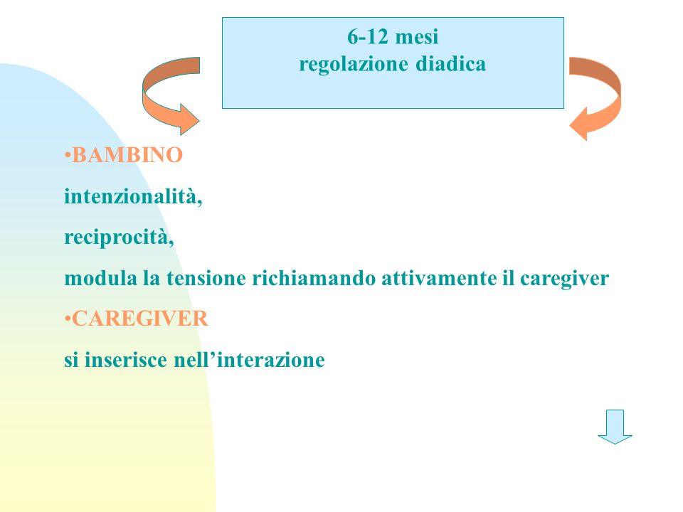 6-12 mesi regolazione diadica. BAMBINO. intenzionalità, reciprocità, modula la tensione richiamando attivamente il caregiver.