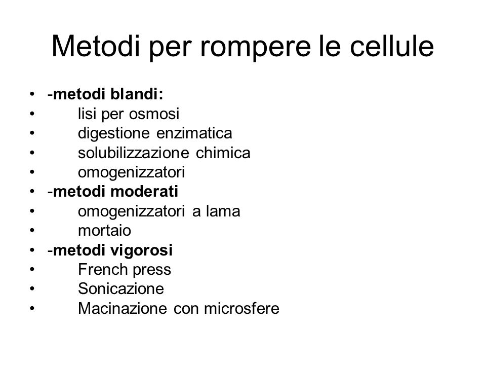 Metodi per rompere le cellule