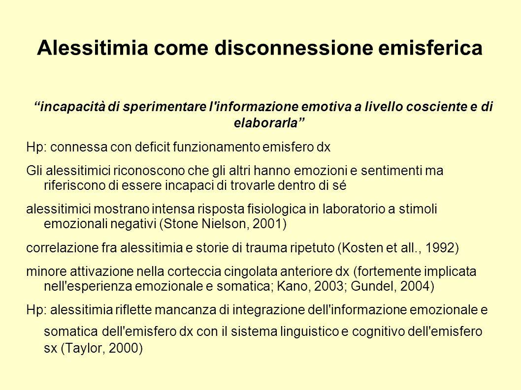 Alessitimia come disconnessione emisferica