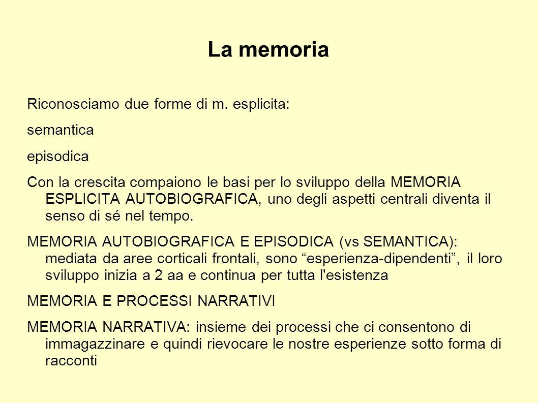 La memoria Riconosciamo due forme di m. esplicita: semantica episodica