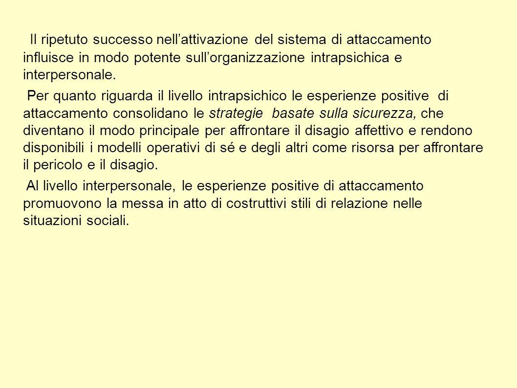Il ripetuto successo nell'attivazione del sistema di attaccamento influisce in modo potente sull'organizzazione intrapsichica e interpersonale.