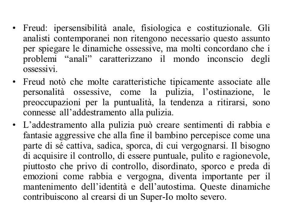 Freud: ipersensibilità anale, fisiologica e costituzionale