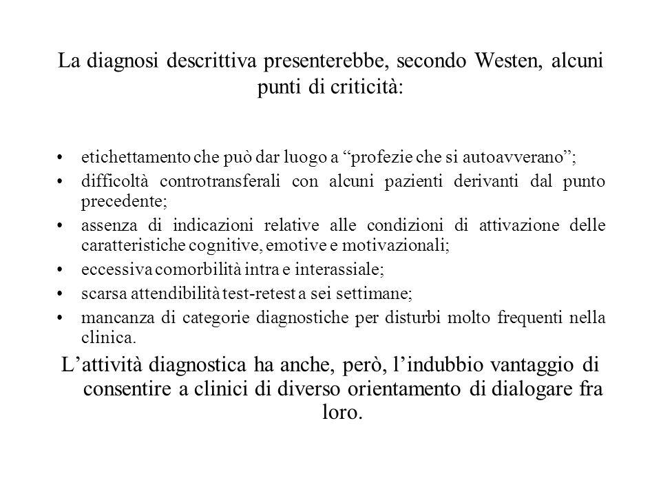 La diagnosi descrittiva presenterebbe, secondo Westen, alcuni punti di criticità: