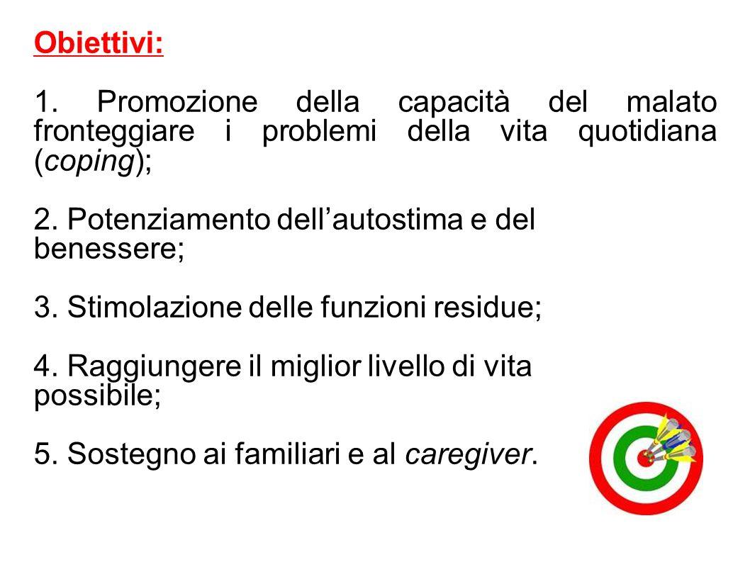 Obiettivi: 1. Promozione della capacità del malato fronteggiare i problemi della vita quotidiana (coping);