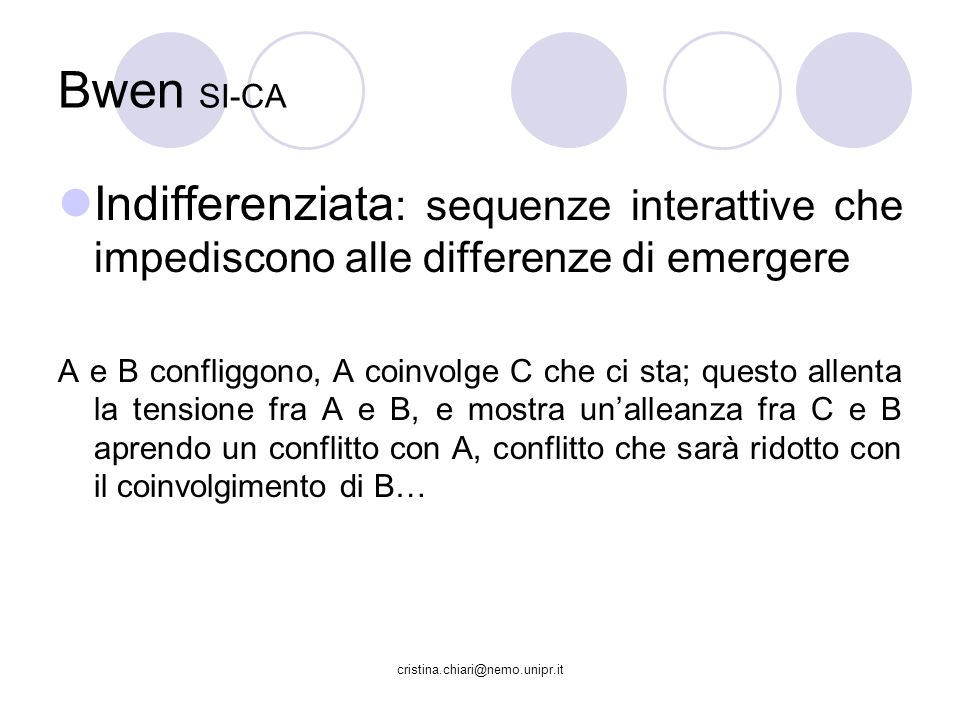 Bwen SI-CA Indifferenziata: sequenze interattive che impediscono alle differenze di emergere.