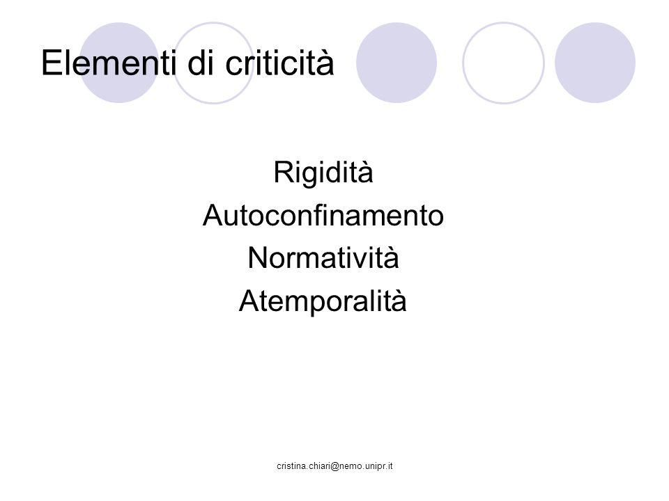 Elementi di criticità Rigidità Autoconfinamento Normatività