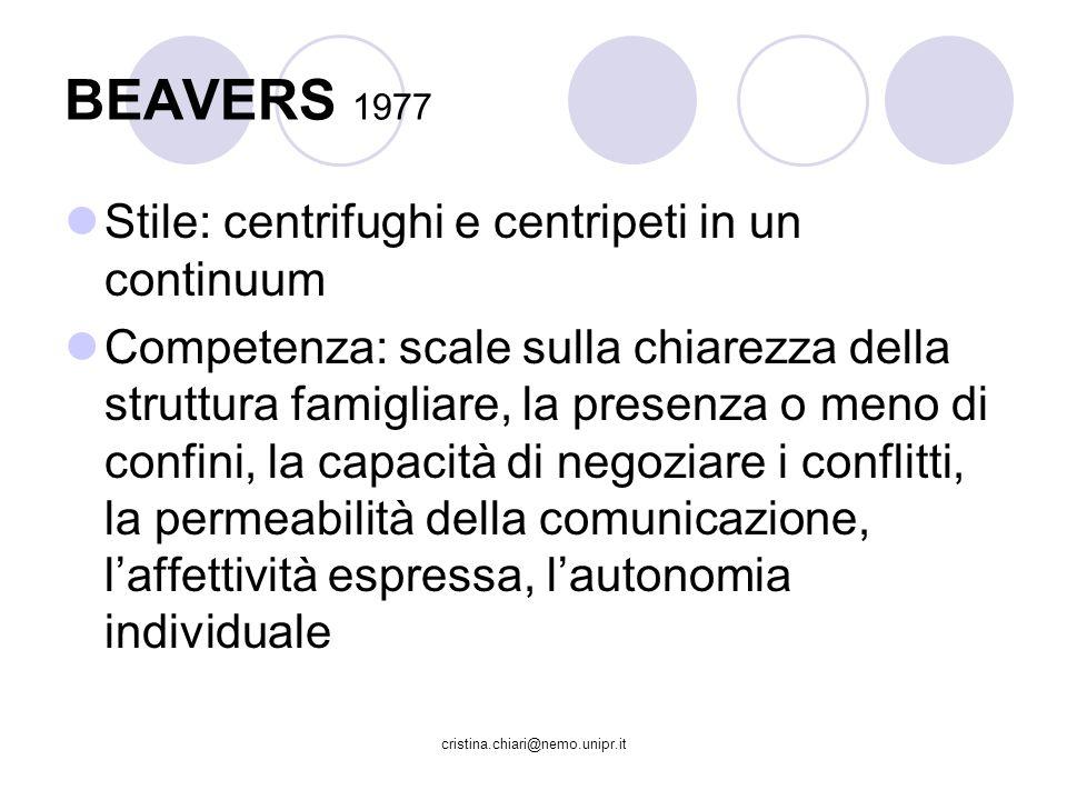 BEAVERS 1977 Stile: centrifughi e centripeti in un continuum