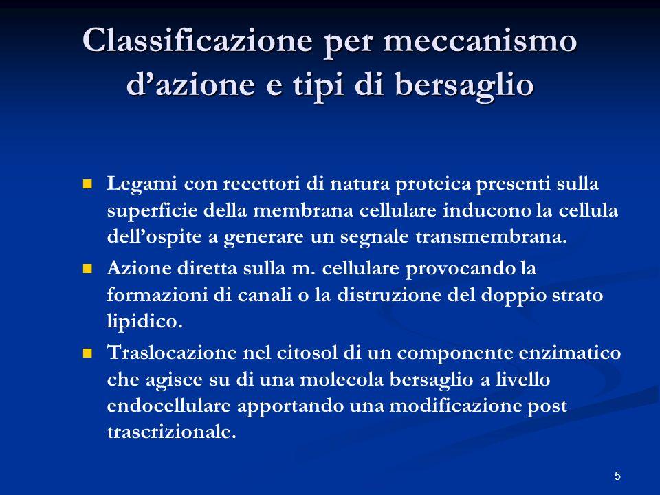 Classificazione per meccanismo d'azione e tipi di bersaglio
