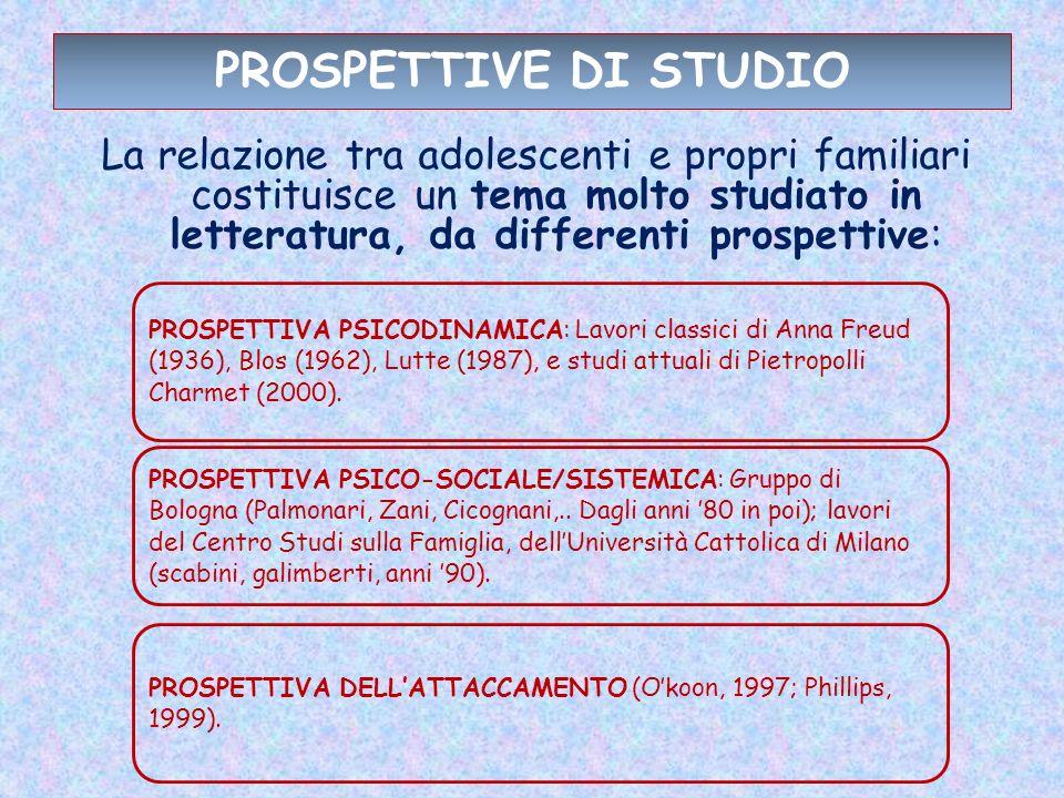 PROSPETTIVE DI STUDIO La relazione tra adolescenti e propri familiari costituisce un tema molto studiato in letteratura, da differenti prospettive: