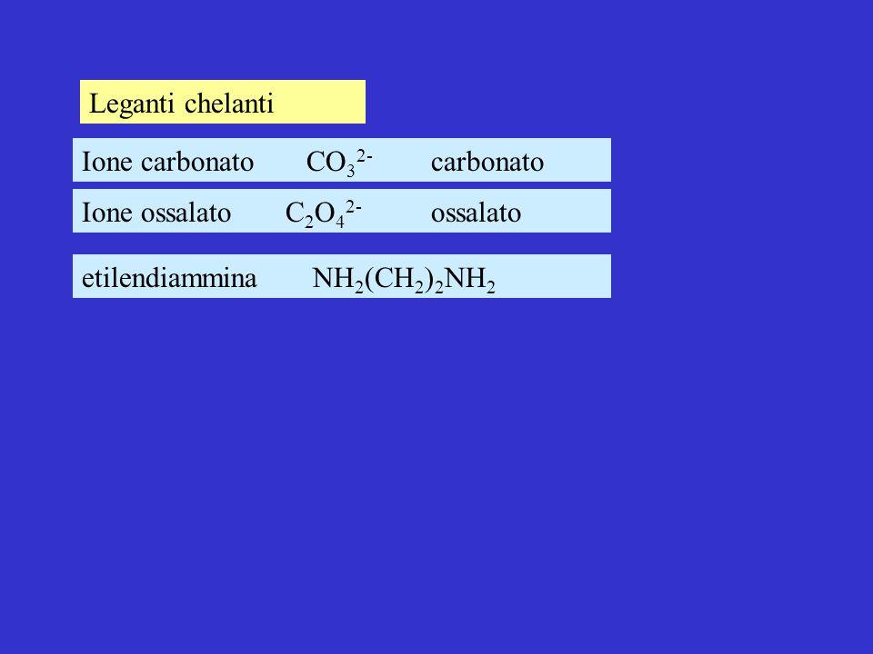 Leganti chelanti Ione carbonato CO32- carbonato.