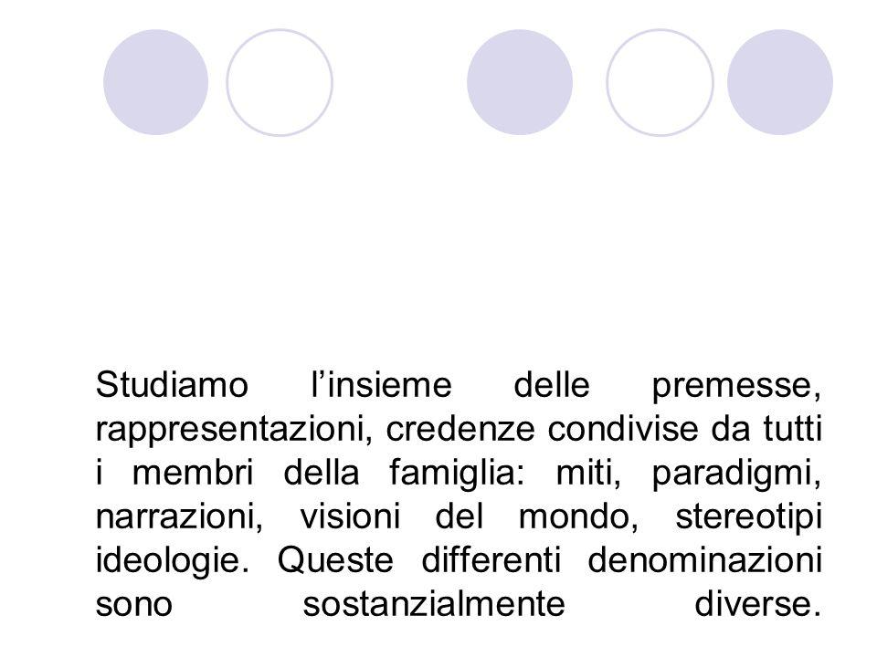 Studiamo l'insieme delle premesse, rappresentazioni, credenze condivise da tutti i membri della famiglia: miti, paradigmi, narrazioni, visioni del mondo, stereotipi ideologie.
