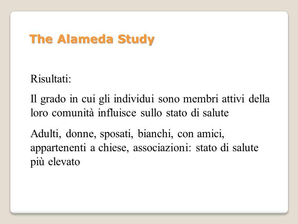 The Alameda StudyRisultati: Il grado in cui gli individui sono membri attivi della loro comunità influisce sullo stato di salute.