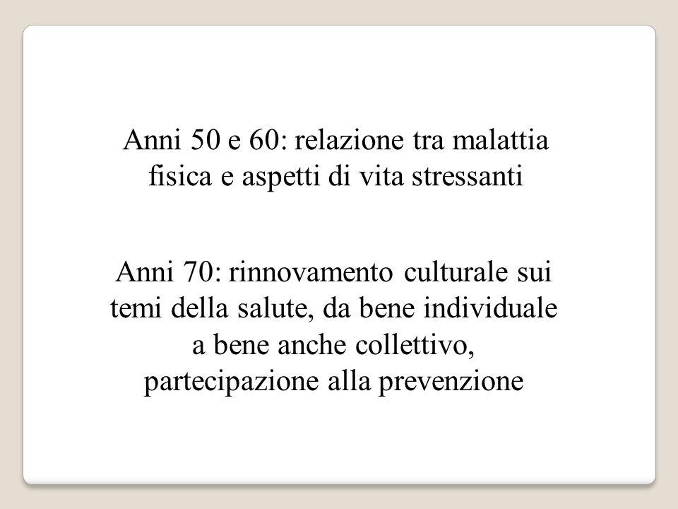 Anni 50 e 60: relazione tra malattia fisica e aspetti di vita stressanti