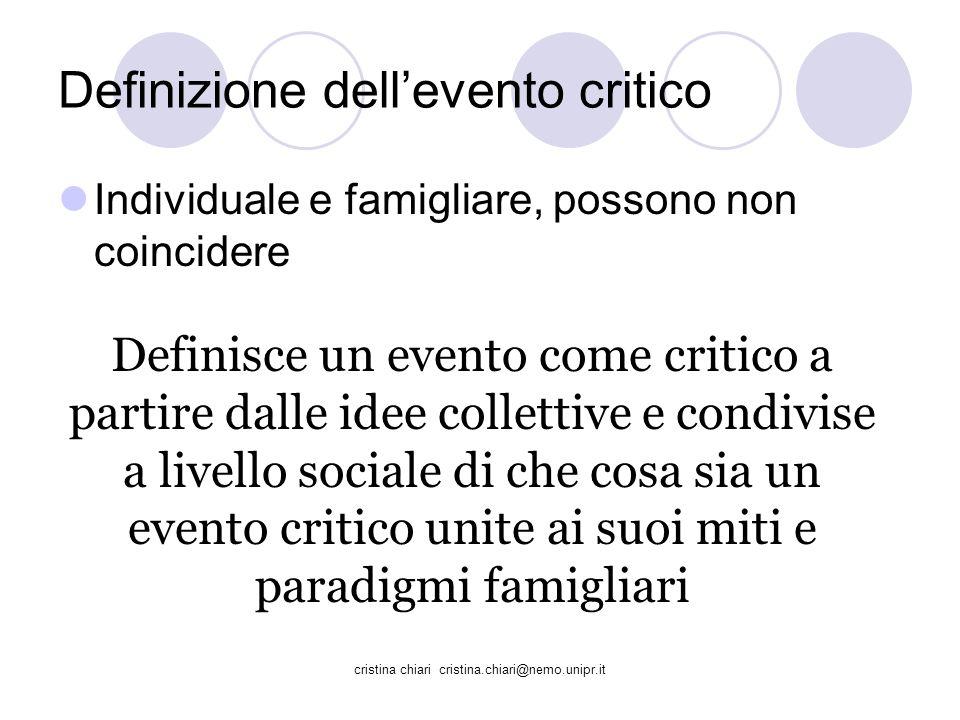 Definizione dell'evento critico