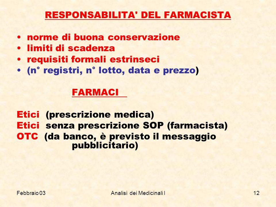 RESPONSABILITA DEL FARMACISTA