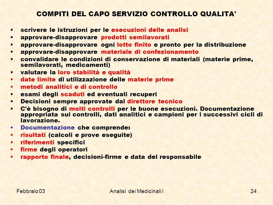 COMPITI DEL CAPO SERVIZIO CONTROLLO QUALITA