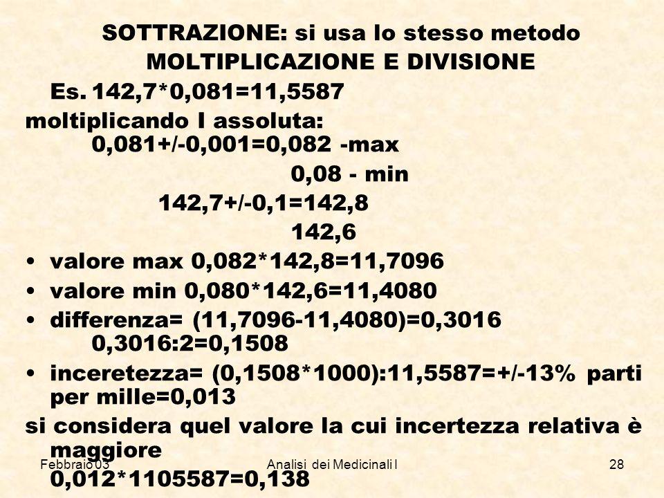 SOTTRAZIONE: si usa lo stesso metodo MOLTIPLICAZIONE E DIVISIONE