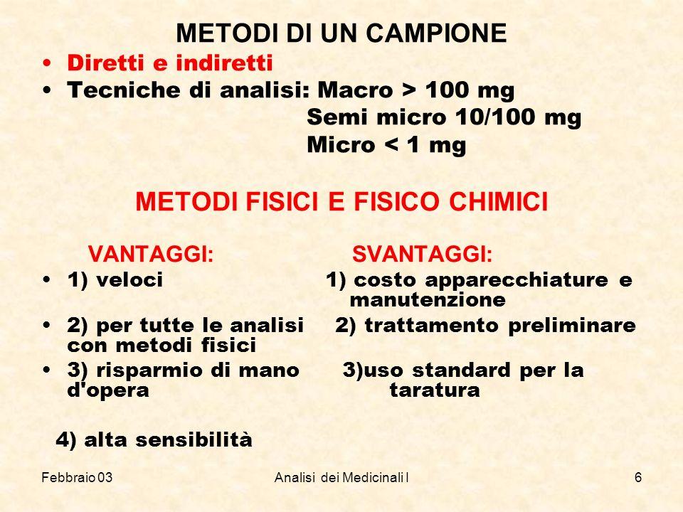 METODI FISICI E FISICO CHIMICI