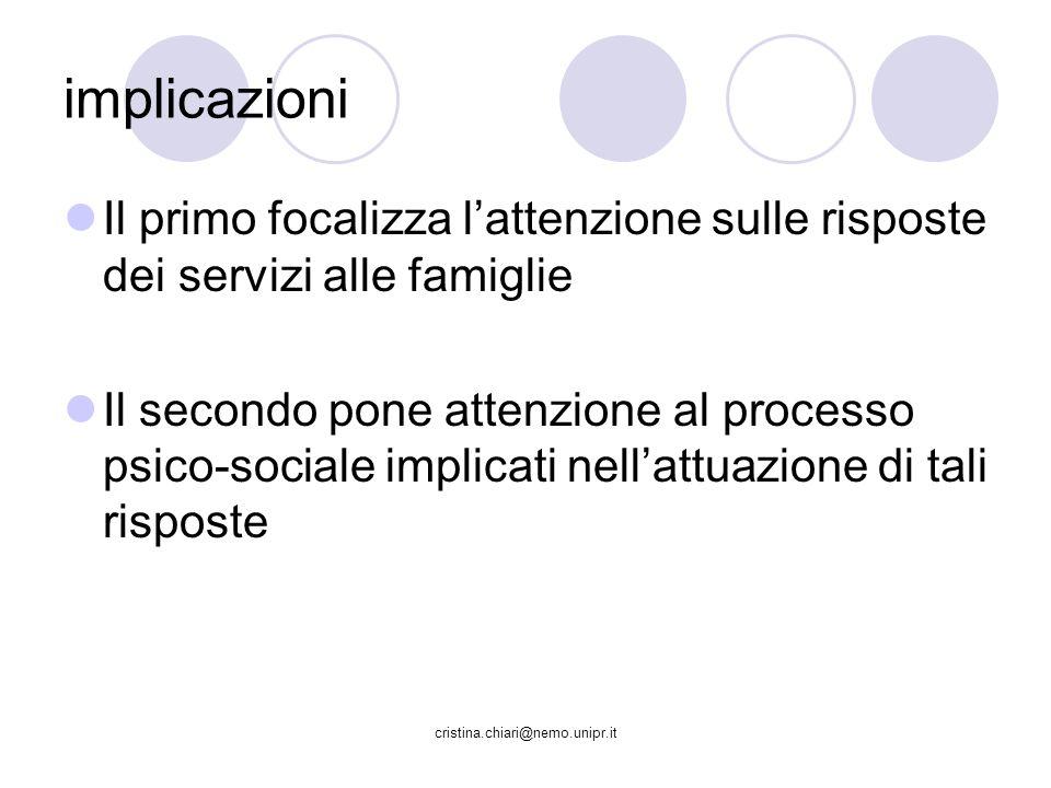 implicazioni Il primo focalizza l'attenzione sulle risposte dei servizi alle famiglie.