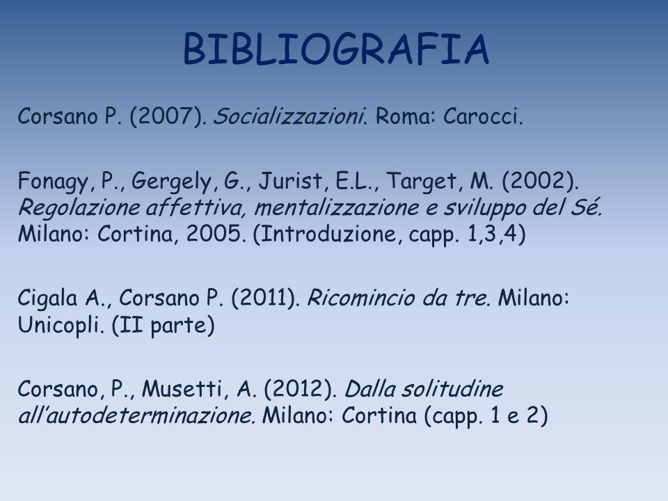 BIBLIOGRAFIA Corsano P. (2007). Socializzazioni. Roma: Carocci.