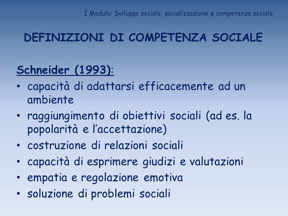 I Modulo: Sviluppo sociale, socializzazione e competenza sociale