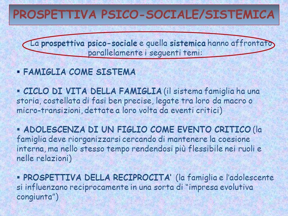 PROSPETTIVA PSICO-SOCIALE/SISTEMICA