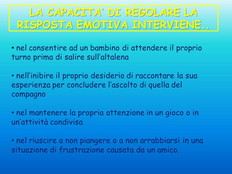 LA CAPACITA' DI REGOLARE LA RISPOSTA EMOTIVA INTERVIENE..