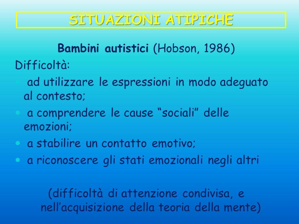 Bambini autistici (Hobson, 1986)