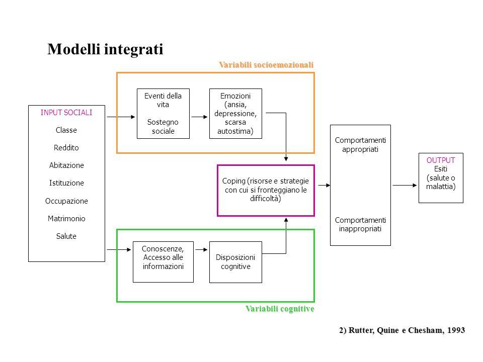 Modelli integrati Variabili socioemozionali Variabili cognitive