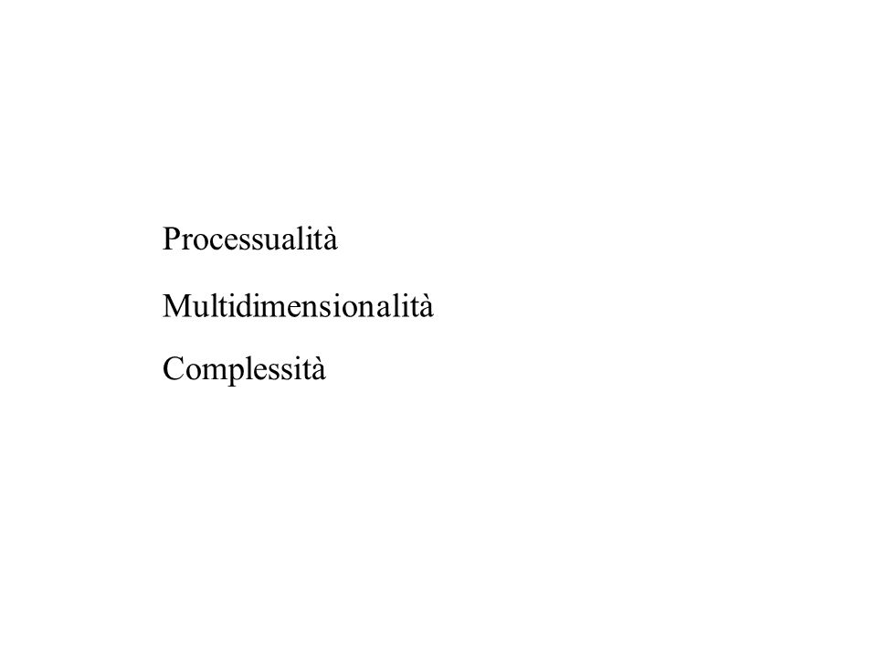 Processualità Multidimensionalità Complessità