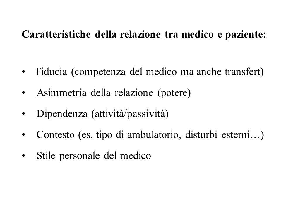 Caratteristiche della relazione tra medico e paziente: