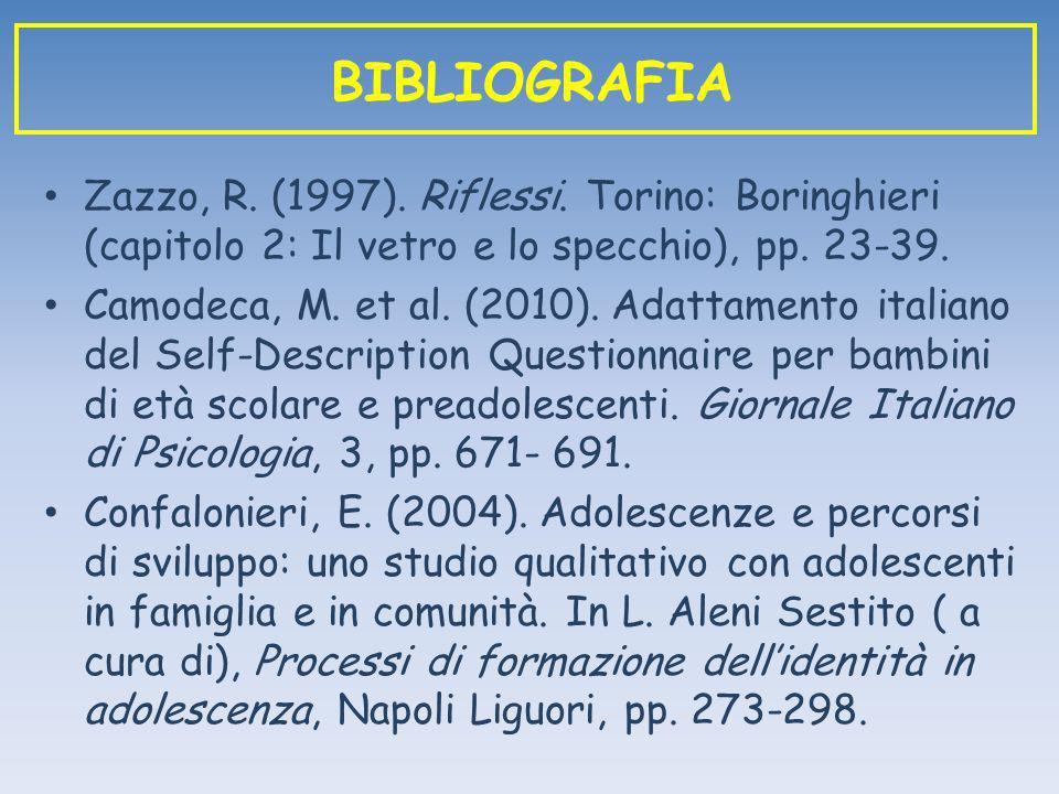 BIBLIOGRAFIA Zazzo, R. (1997). Riflessi. Torino: Boringhieri (capitolo 2: Il vetro e lo specchio), pp. 23-39.