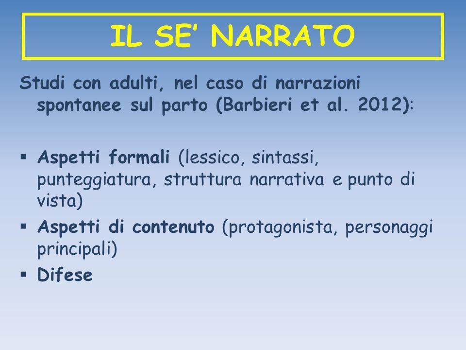 IL SE' NARRATO Studi con adulti, nel caso di narrazioni spontanee sul parto (Barbieri et al. 2012):