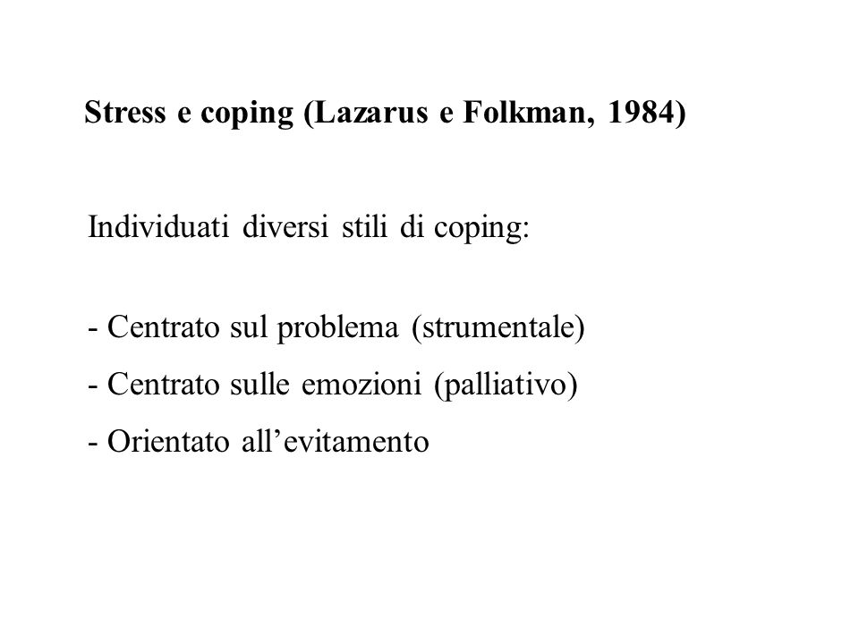 Stress e coping (Lazarus e Folkman, 1984)
