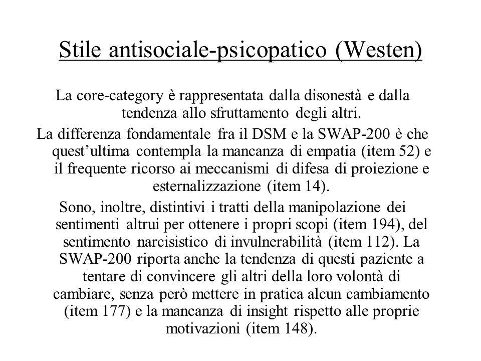 Stile antisociale-psicopatico (Westen)