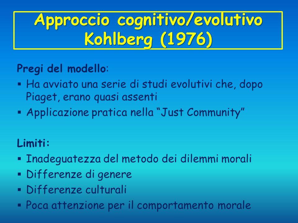 Approccio cognitivo/evolutivo Kohlberg (1976)