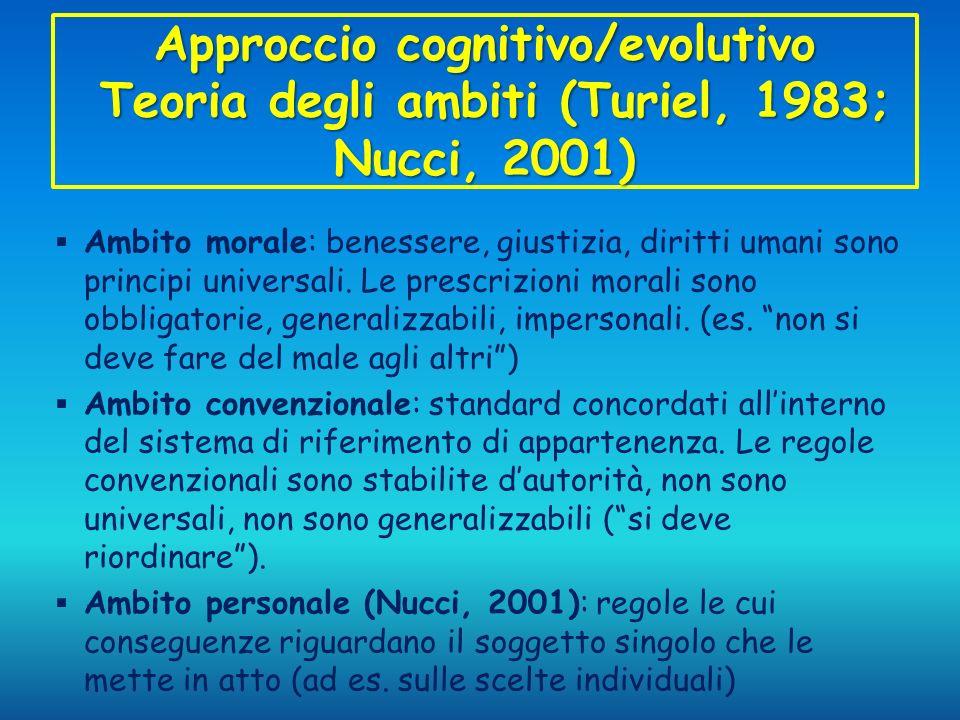 Approccio cognitivo/evolutivo Teoria degli ambiti (Turiel, 1983; Nucci, 2001)